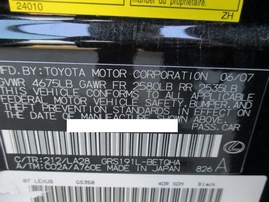 2007 LEXUS GS350 BLACK 3.5L AT Z16486
